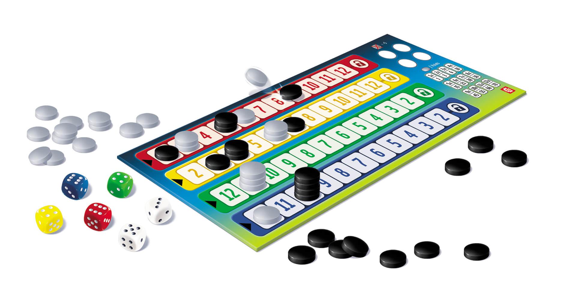 Spielmaterial - Spielblock mit Würfel und Spielfiguren- Qwixx - Duel
