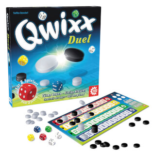 Spielschachtel und Spielmaterial- Qwixx - Duel