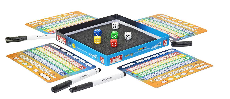 Spielmaterial - Spielschachtel mit Teppich, Würfeln und Blöcken- Qwixx - Deluxe