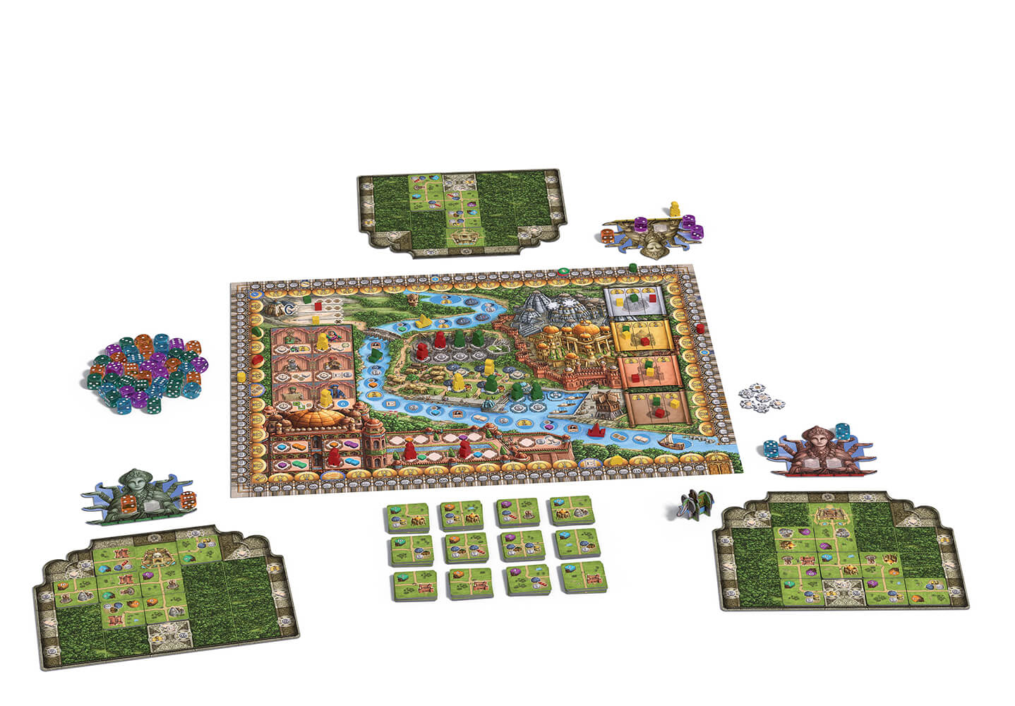 Spielmaterial - Spielbrett mit Würfel und Plättchen- Rajas of the Ganges