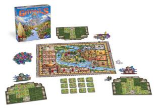 Spielmaterial - Spielbrett mit Würfel und Plättchen und Spielschachtel- Rajas of the Ganges