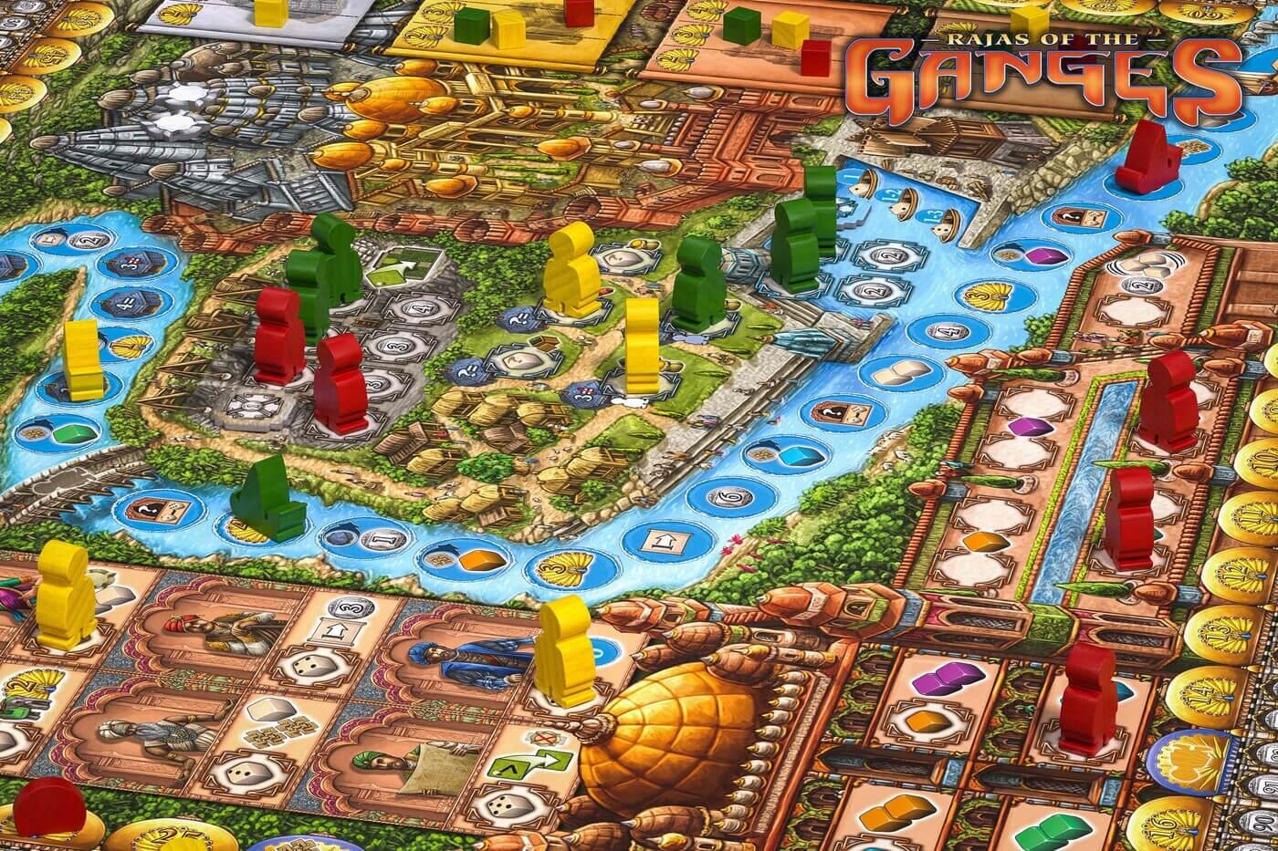 Fokus - Spielbrett mit Spielfiguren aus Holz- Rajas of the Ganges