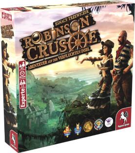 Schachtel Vorderseite, linke Seite - Kennerspiel- Robinson Crusoe - Abenteuer auf der verfluchten Insel