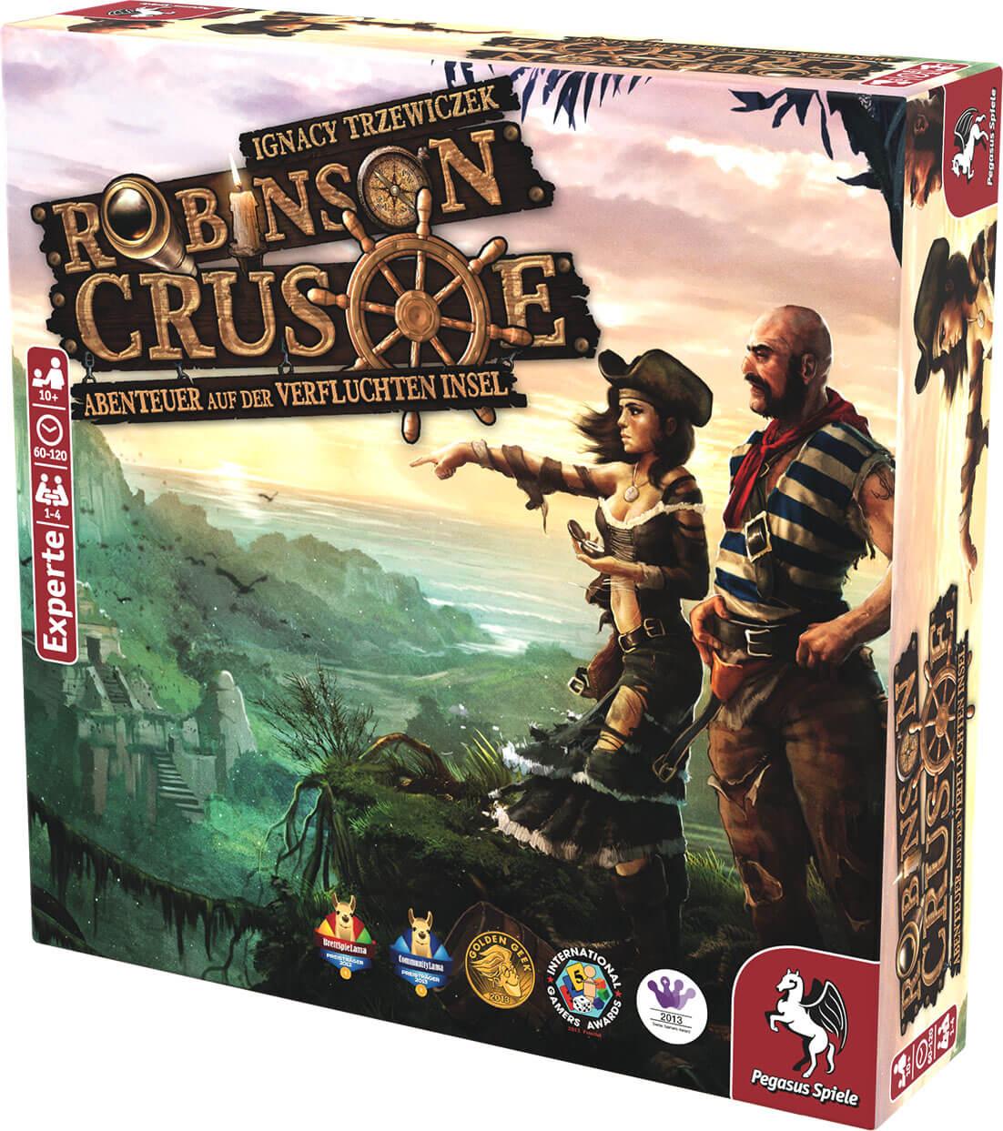 Schachtel Vorderseite, rechte Seite - Kennerspiel- Robinson Crusoe - Abenteuer auf der verfluchten Insel