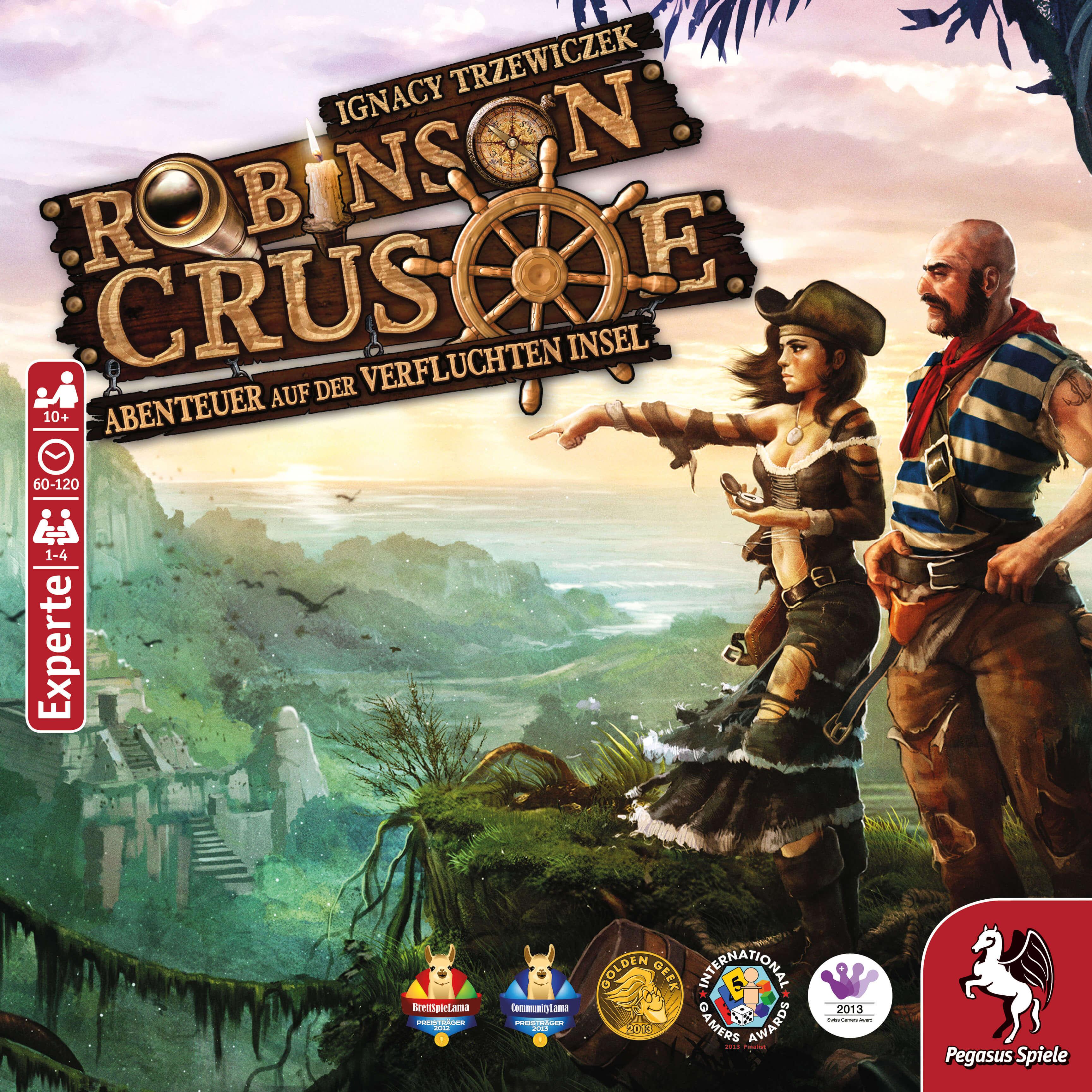 Schachtel Vorderseite - Kennerspiel- Robinson Crusoe - Abenteuer auf der verfluchten Insel