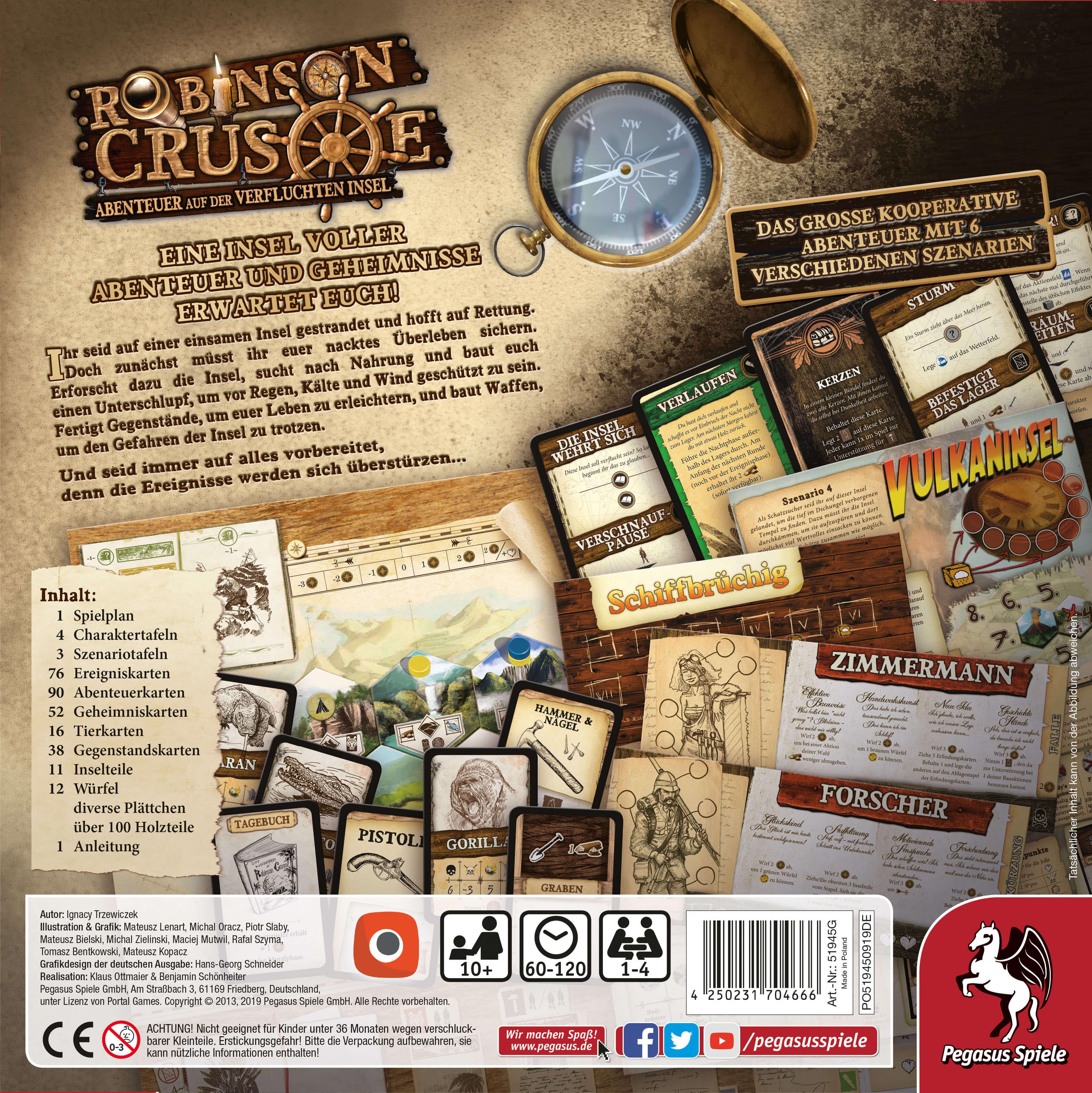 Schachtel Rückseite - Kennerspiel- Robinson Crusoe - Abenteuer auf der verfluchten Insel
