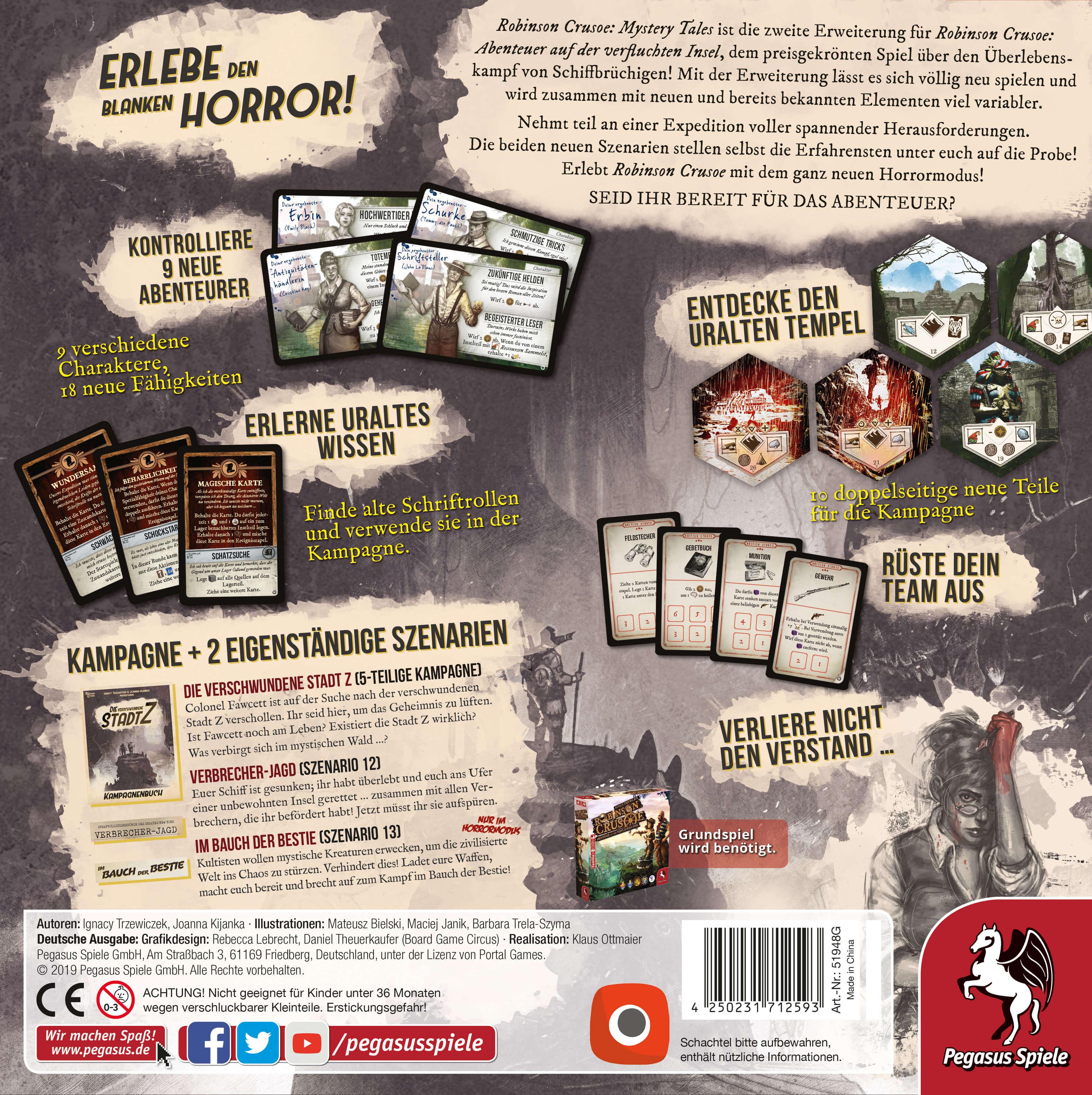 Schachtel Rückseite- Robinson Crusoe: Mystery Tales