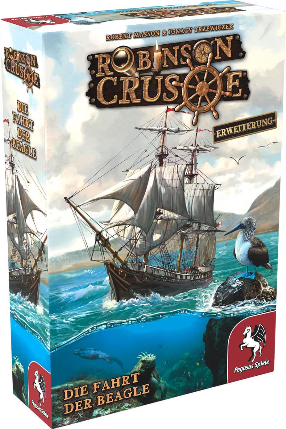 Schachtel Vorderseite, linke Seite- Robinson Crusoe: Die Fahrt der Beagle
