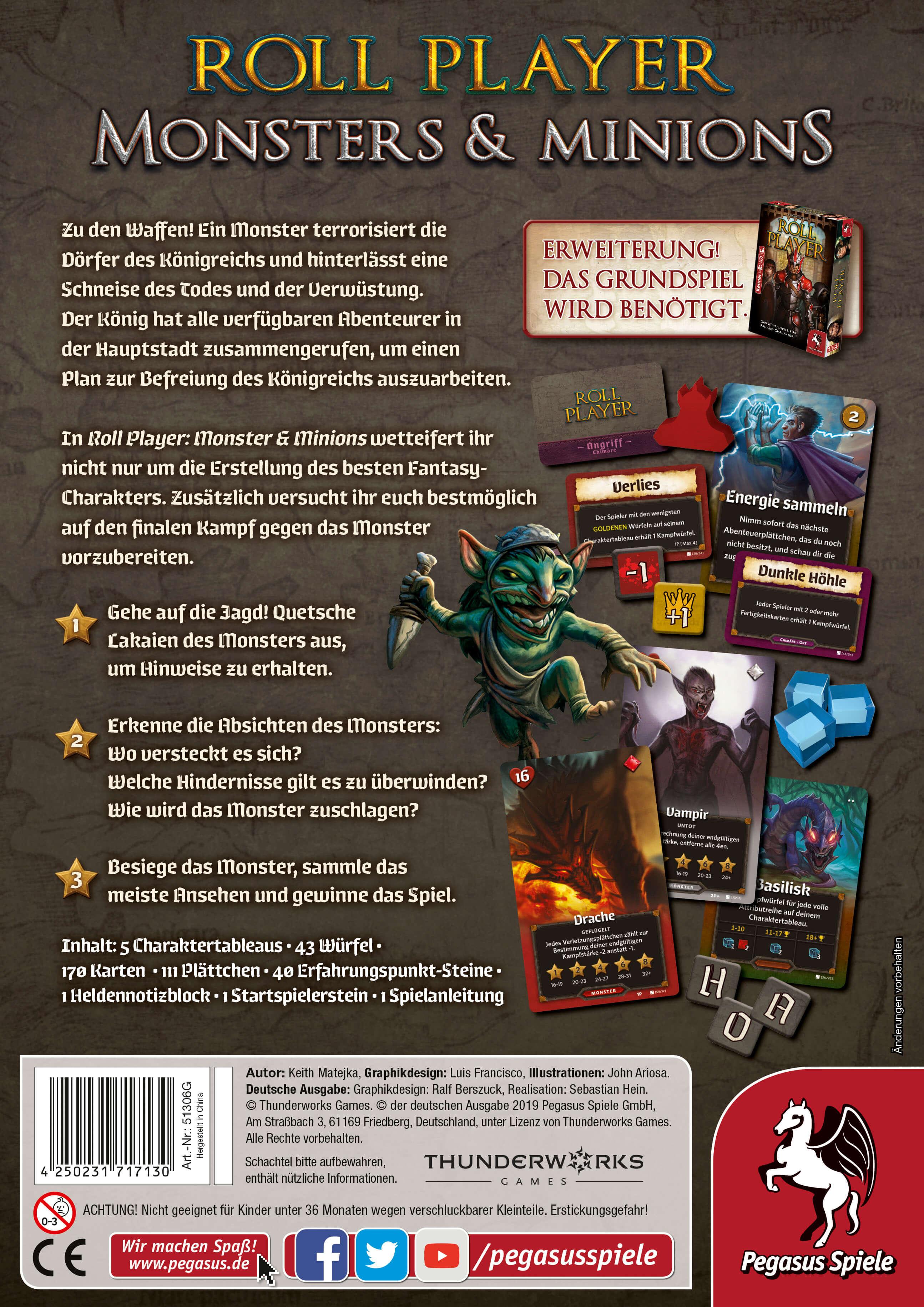 Schachtel Rückseite- Roll Player: Monsters & Minions
