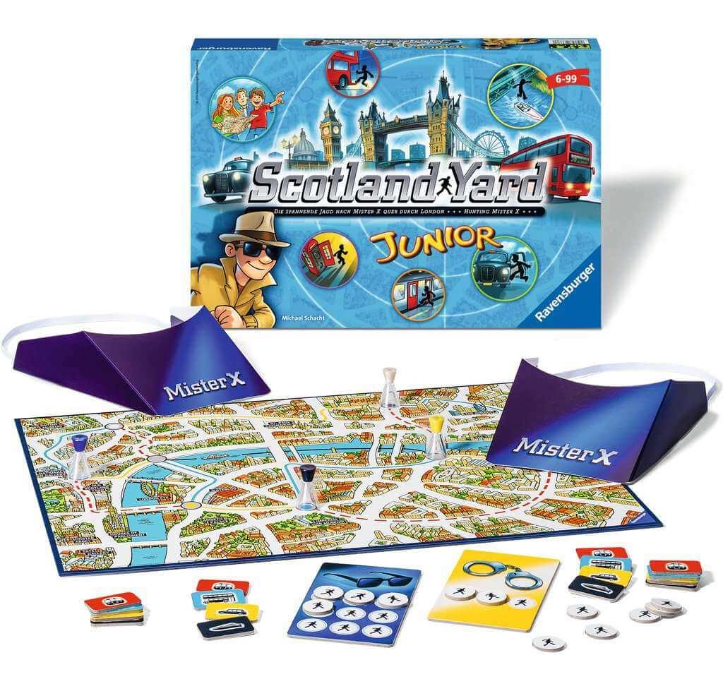 Schachtel und Spielmaterial- Scotland Yard Junior
