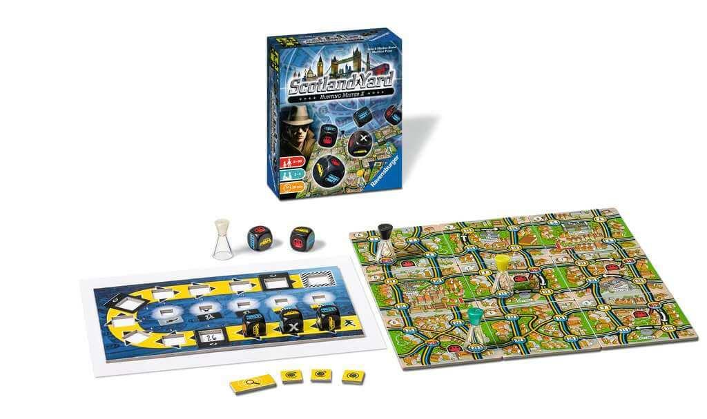 Spielaufbau - Spielbrett und Spielschachtel- Scotland Yard - Dice Game
