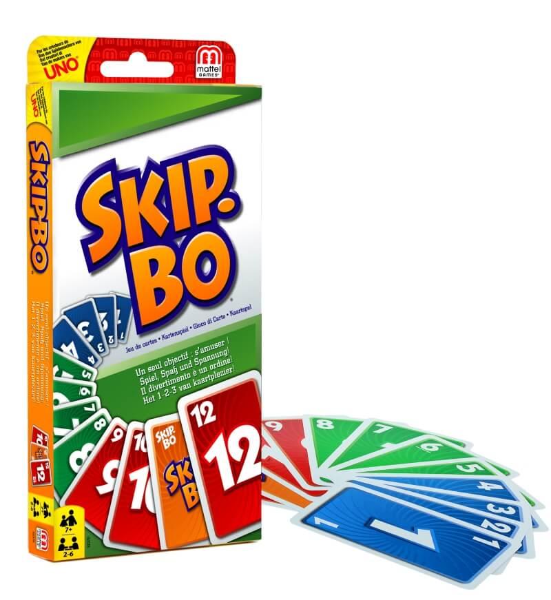 Schachtel Vorderseite, Spielkarten- Skip-Bo