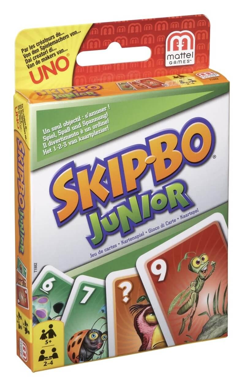 Schachtel Vorderseite, linke Seite- Skip-Bo Junior