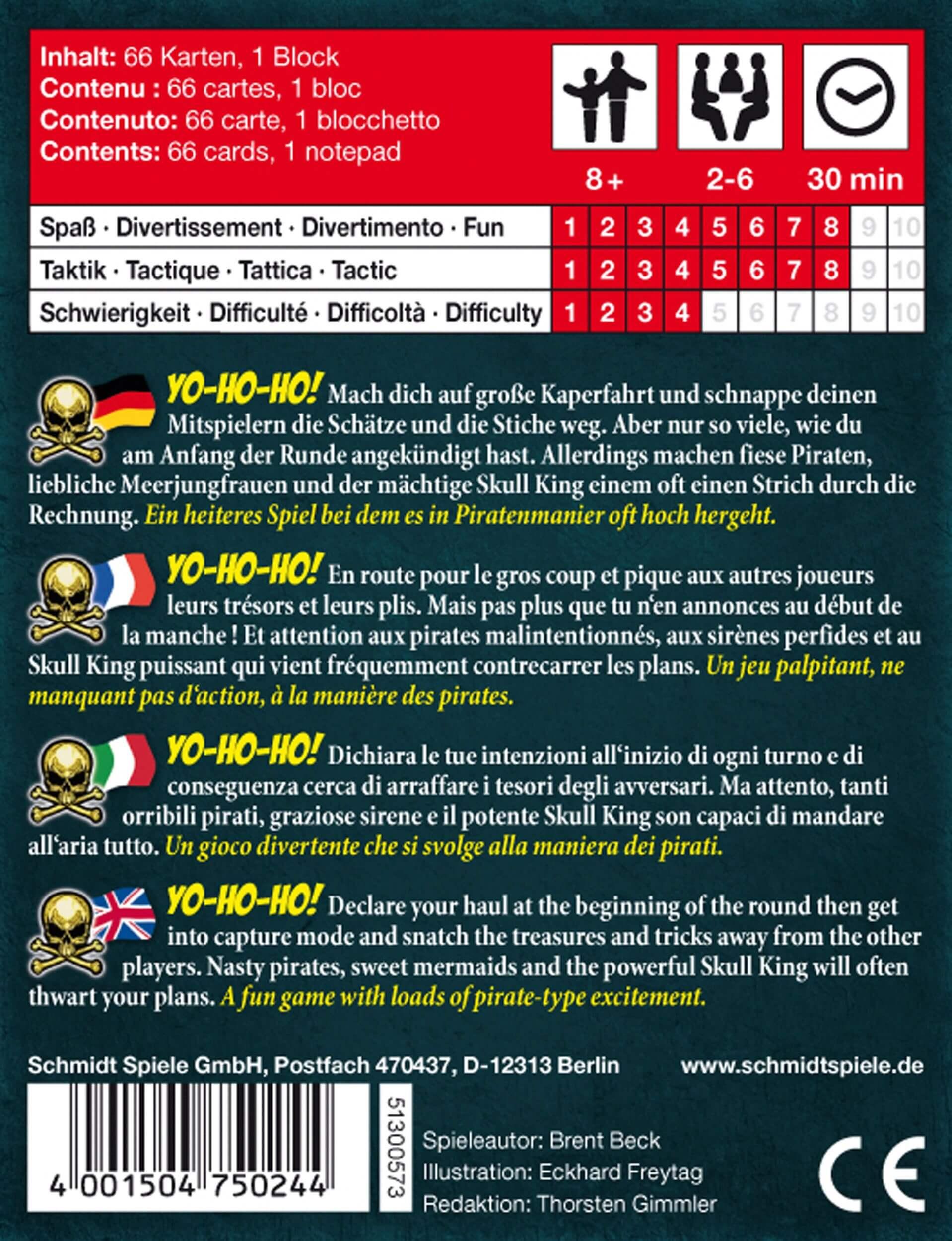 Schachtel Rückseite - Lustiges Familienspiel mit Piraten- Skull King