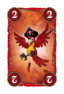 Rote Farb-Karte mit Papagei - Lustiges Familienspiel mit Piraten- Skull King