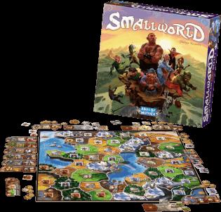 Spielplan mit schönem Spielmaterial und SchachtelSchachtel Vorderseite - Super Einsteigerspiel- Small World