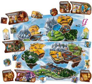 Spielmaterial mit Spielbrett- Small World - Sky Islands