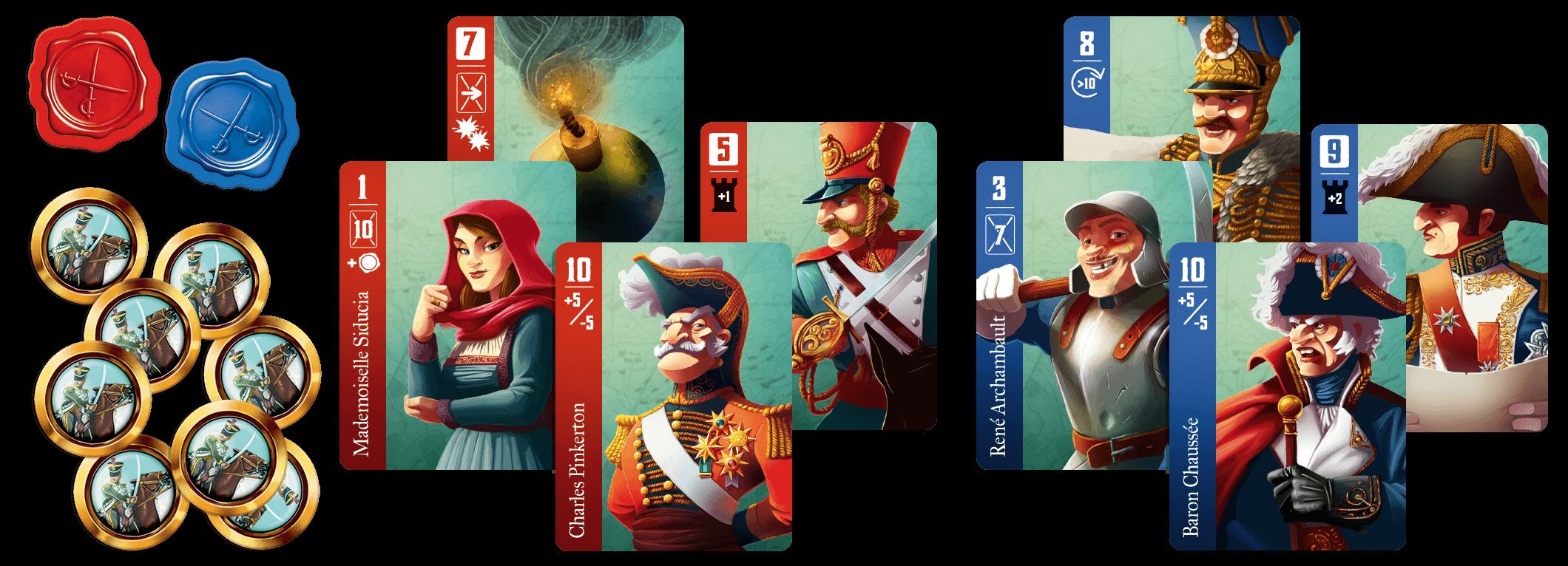Spielmaterial - Karten und Münzen- Spies & Lies - a Stratego Story