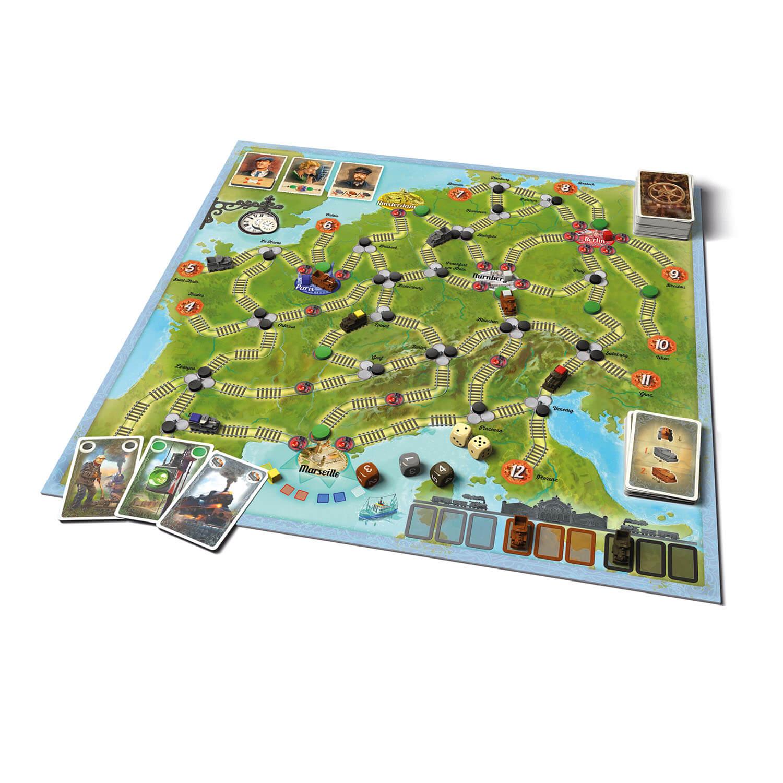 Spielbrett mit Karten und Spielfiguren- Switch & Signal