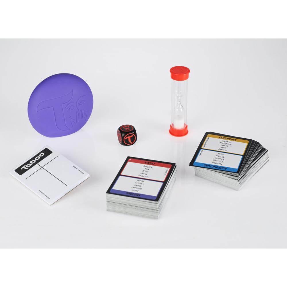 Spielmaterial - Karten, Sanduhr und Würfel- Tabu
