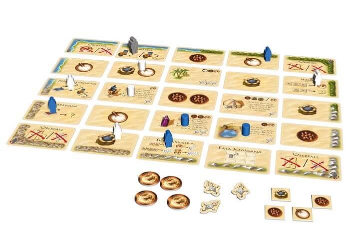 Karten mit Targi-Figuren, Stammesmarkern und Räuberfigur- Targi