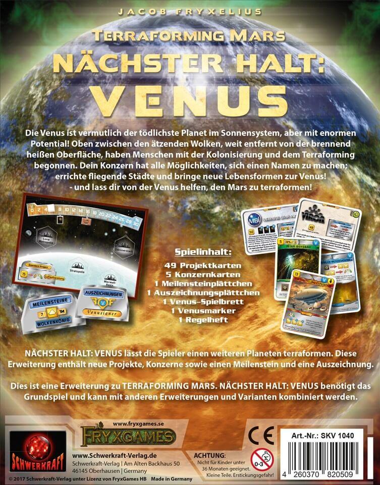 Schachtel Rückseite- Terraforming Mars: Nächster Halt: Venus