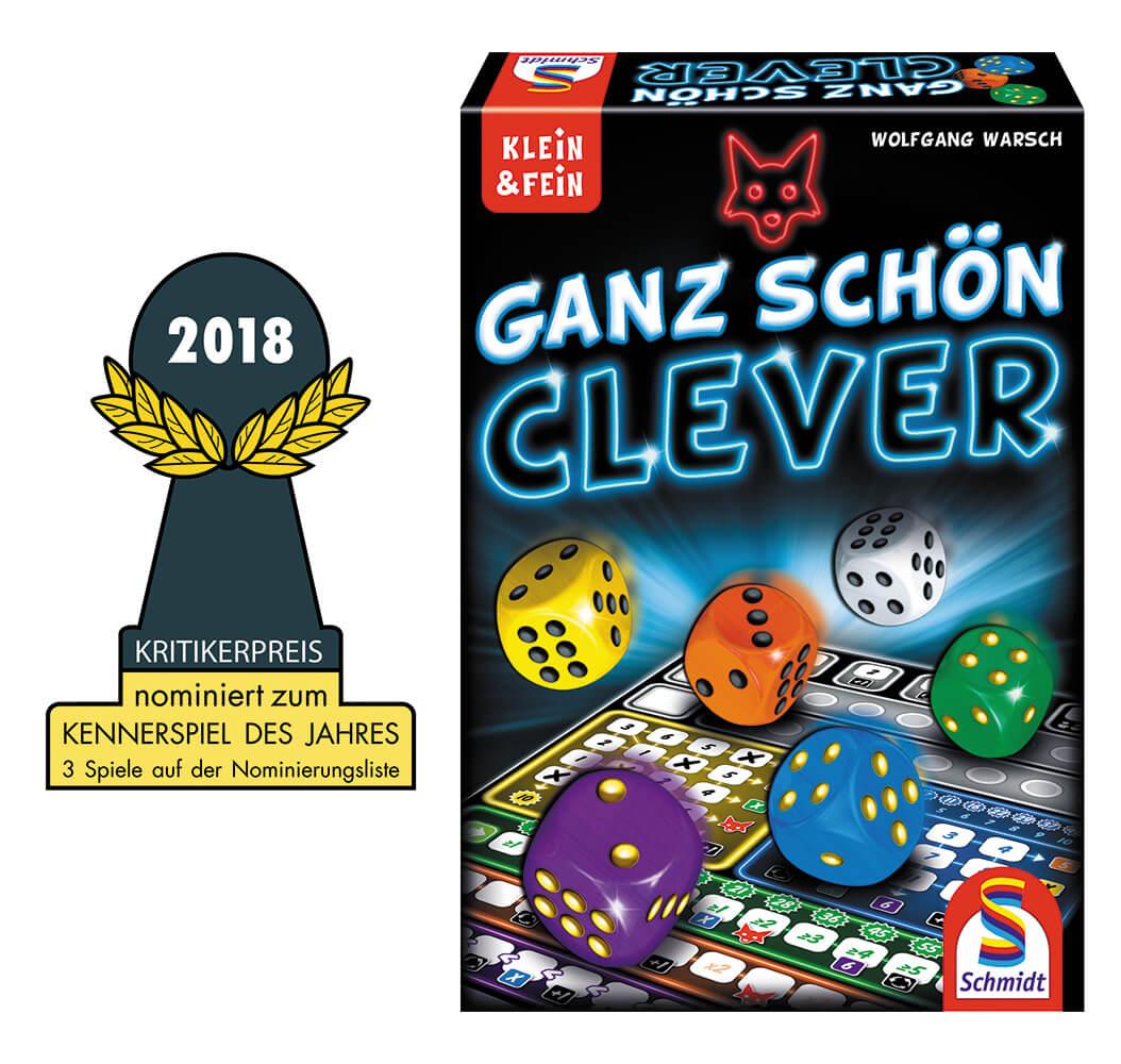 Auszeichnung und Spielschachtel Vorderseite - nominiert zum Kennerspiel des Jahres 2018- Ganz schön clever