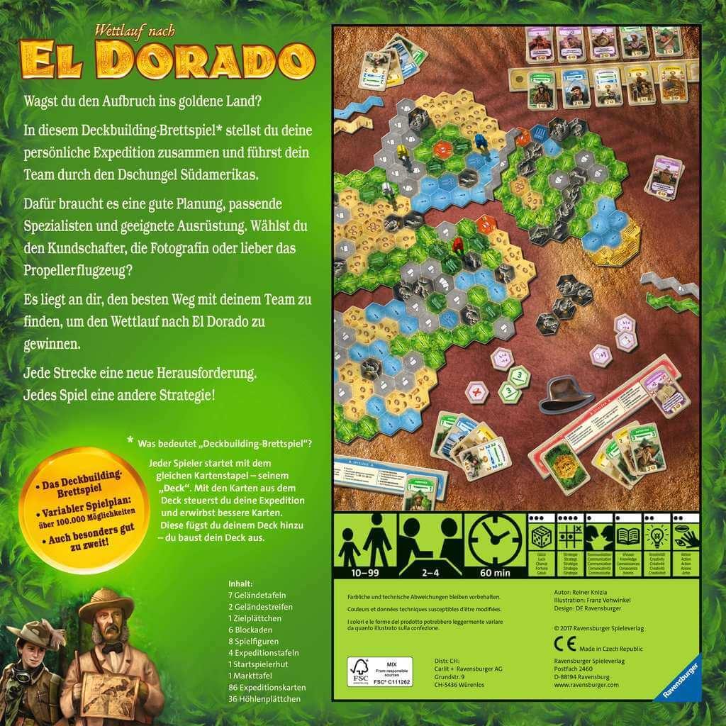 Schachtel Rückseite - nominiert zum Spiel des Jahres 2017- Wettlauf nach El Dorado