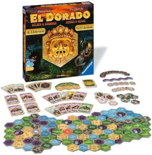 Spielmaterial und Schachtel- The quest for El Dorado - Heroes & Hexes