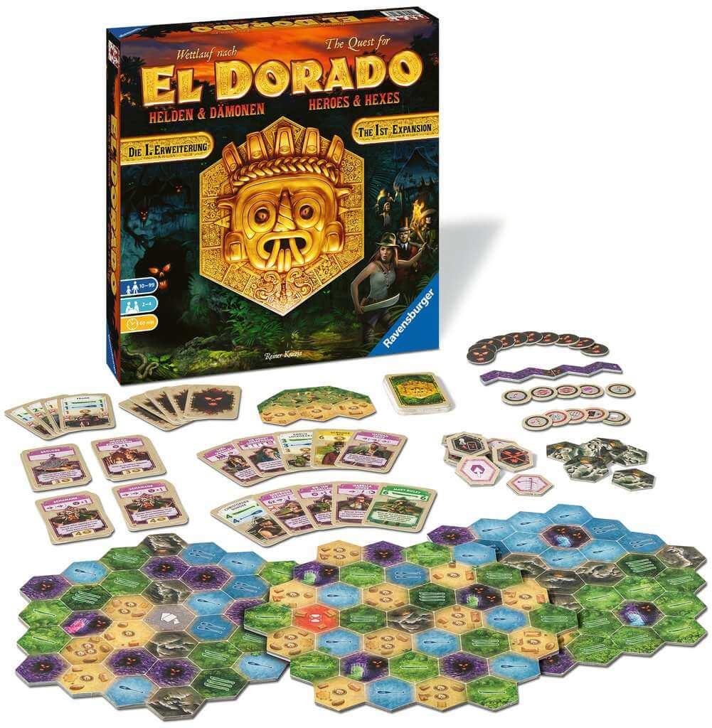 Spielmaterial und Schachtel- Wettlauf nach El Dorado - Helden und Dämonen