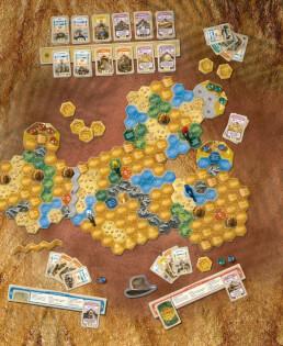 Spielplan mit schönem Spielmaterial - Die eigenständige Fortsetzung der Abenteuer-Saga- The quest for El Dorado - The golden temples