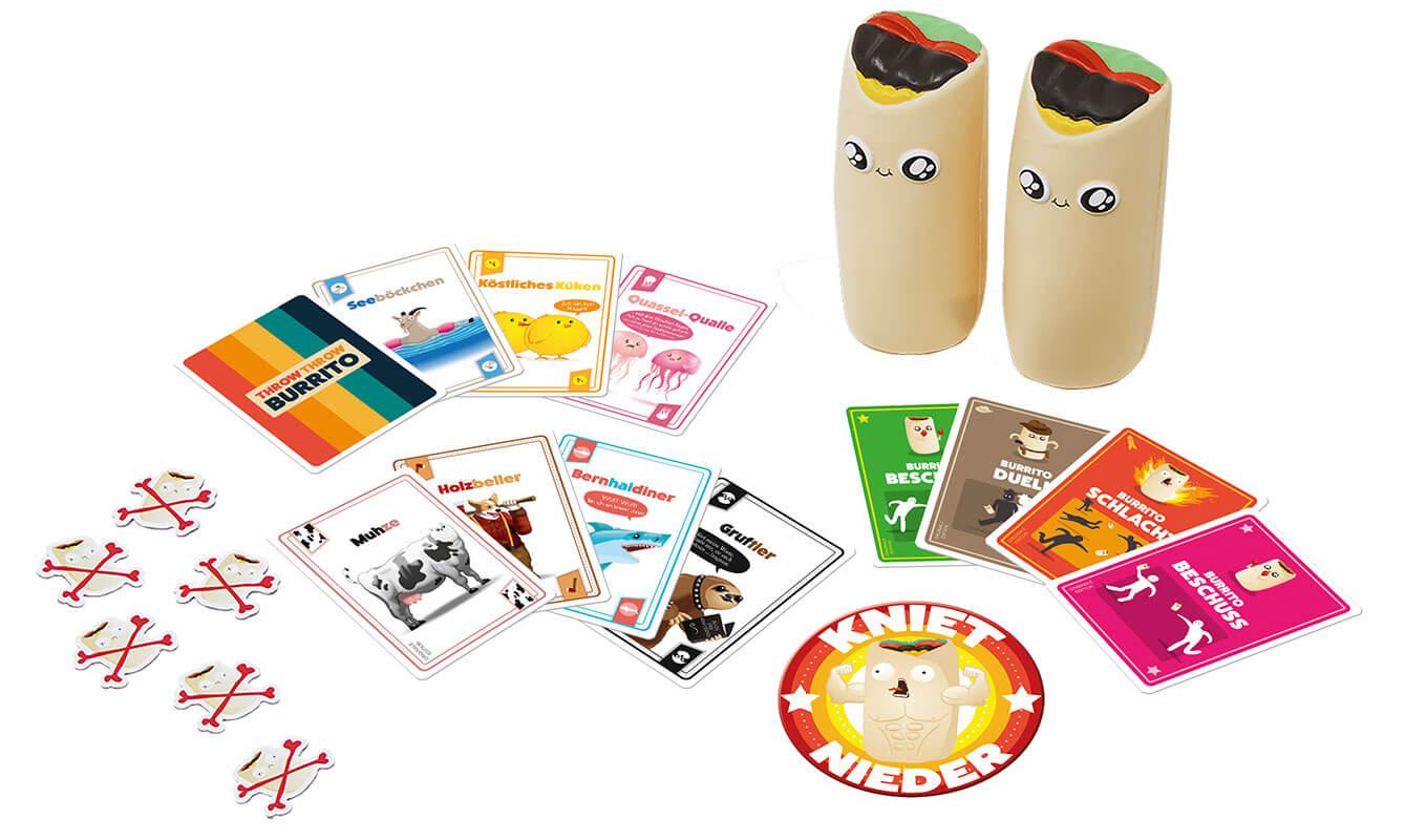 Spielmaterial - Burritos aus Stoff und Spielkarten- Throw Throw Burrito