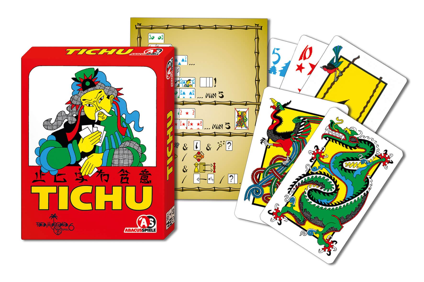 Schachtel Vorderseite und Spielmaterial- Tichu