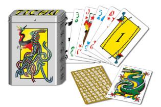 Schachtel und Spielkarten- Tichu Pocketbox