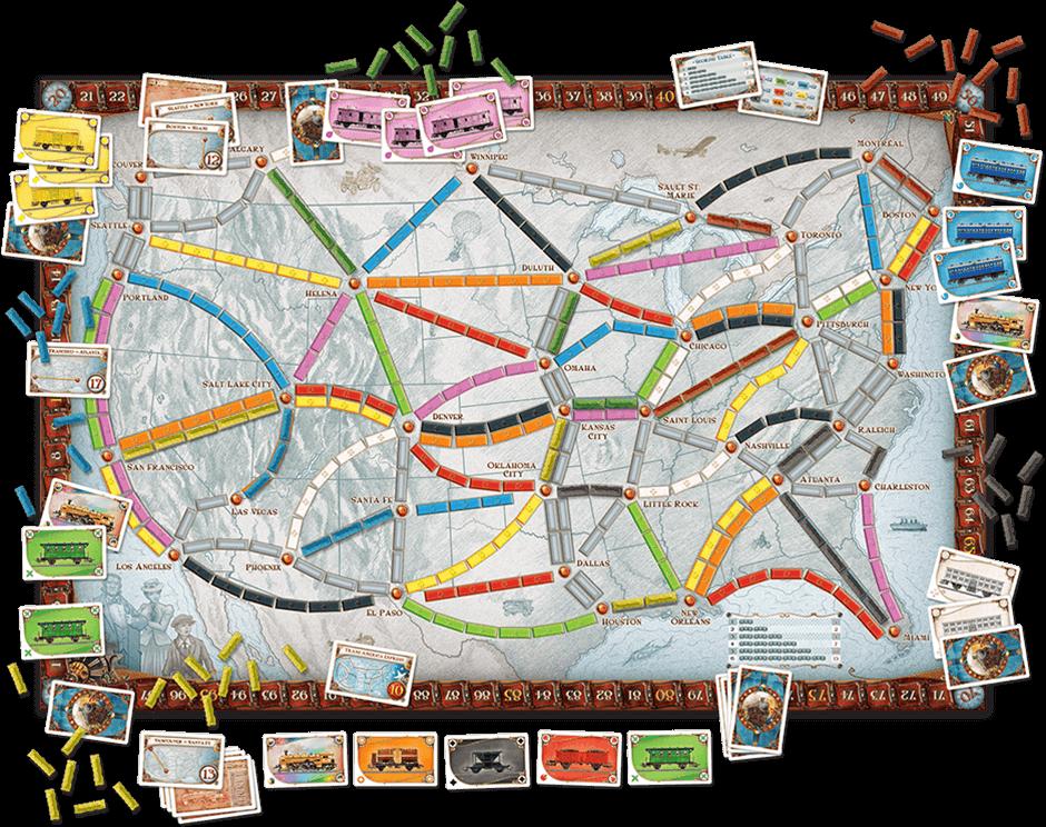 Spielplan mit Zügen - Spiel des Jahres 2004- Zug um Zug