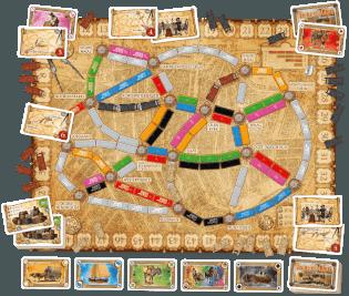 Spielplan mit Spielkarten- Zug um Zug - Amsterdam