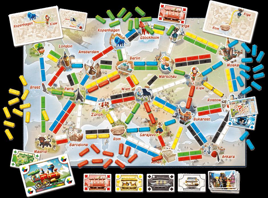 Spielmaterial mit Spielbrett- Zug um Zug - Meine erste Reise