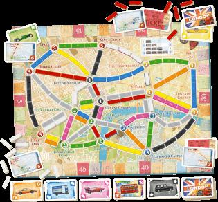 Spielmaterial mit Spielbplan- Zug um Zug - London