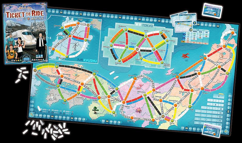 Spielplan und Spielmaterial Japan- Zug um Zug - Japan & Italien