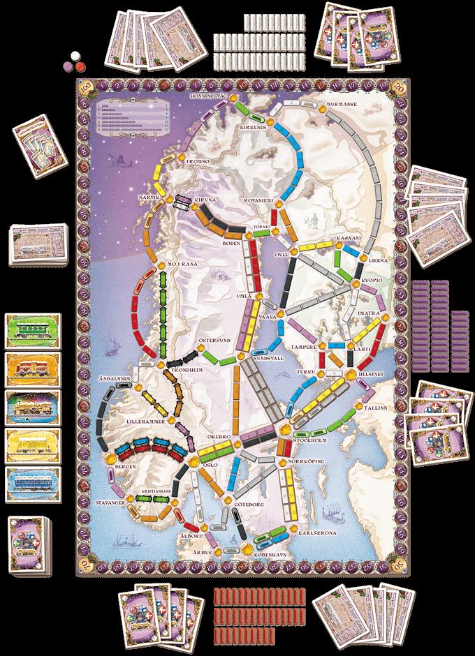 Spielbrett- Zug um Zug - Skandinavien