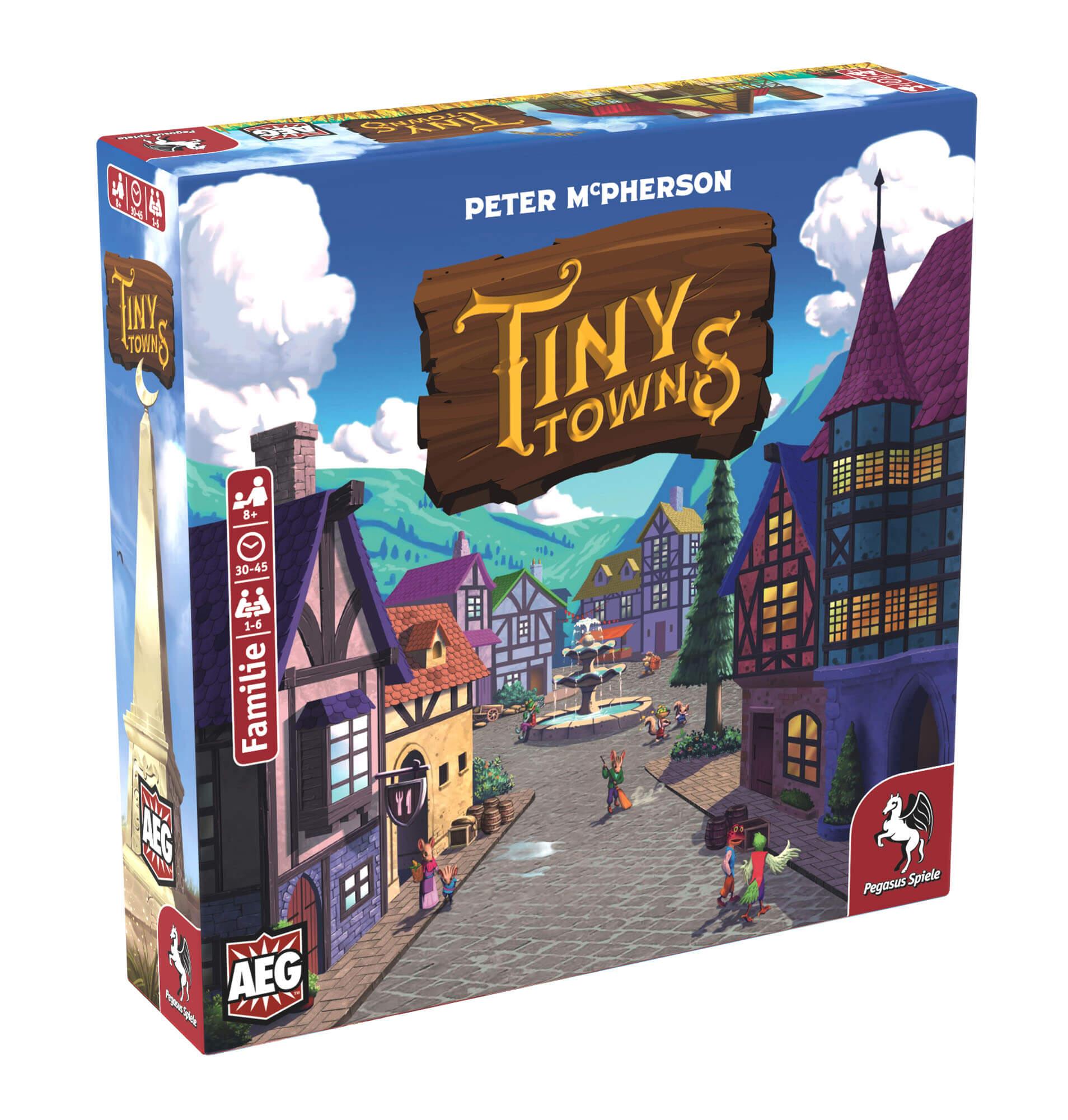 Schachtel Vorderseite, linke Seite- Tiny Towns