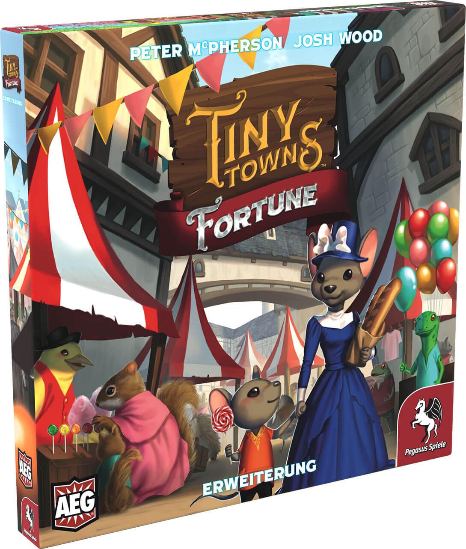 Schachtel Vorderseite, linke Seite- Tiny Towns: Fortune