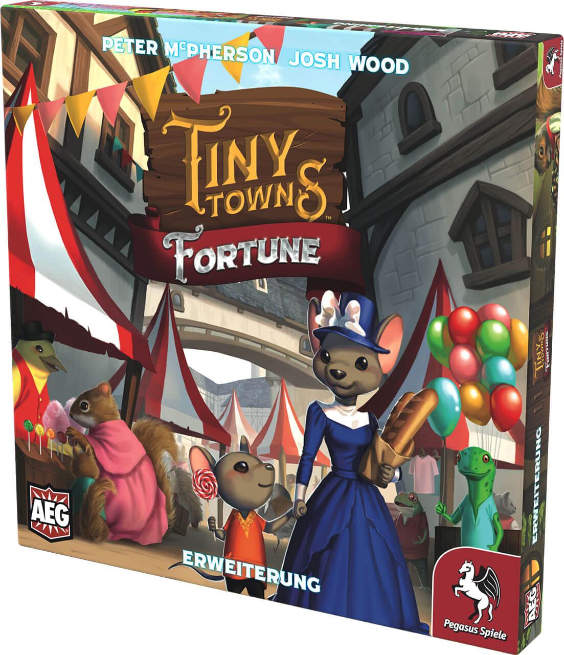 Schachtel Vorderseite, rechte Seite- Tiny Towns: Fortune