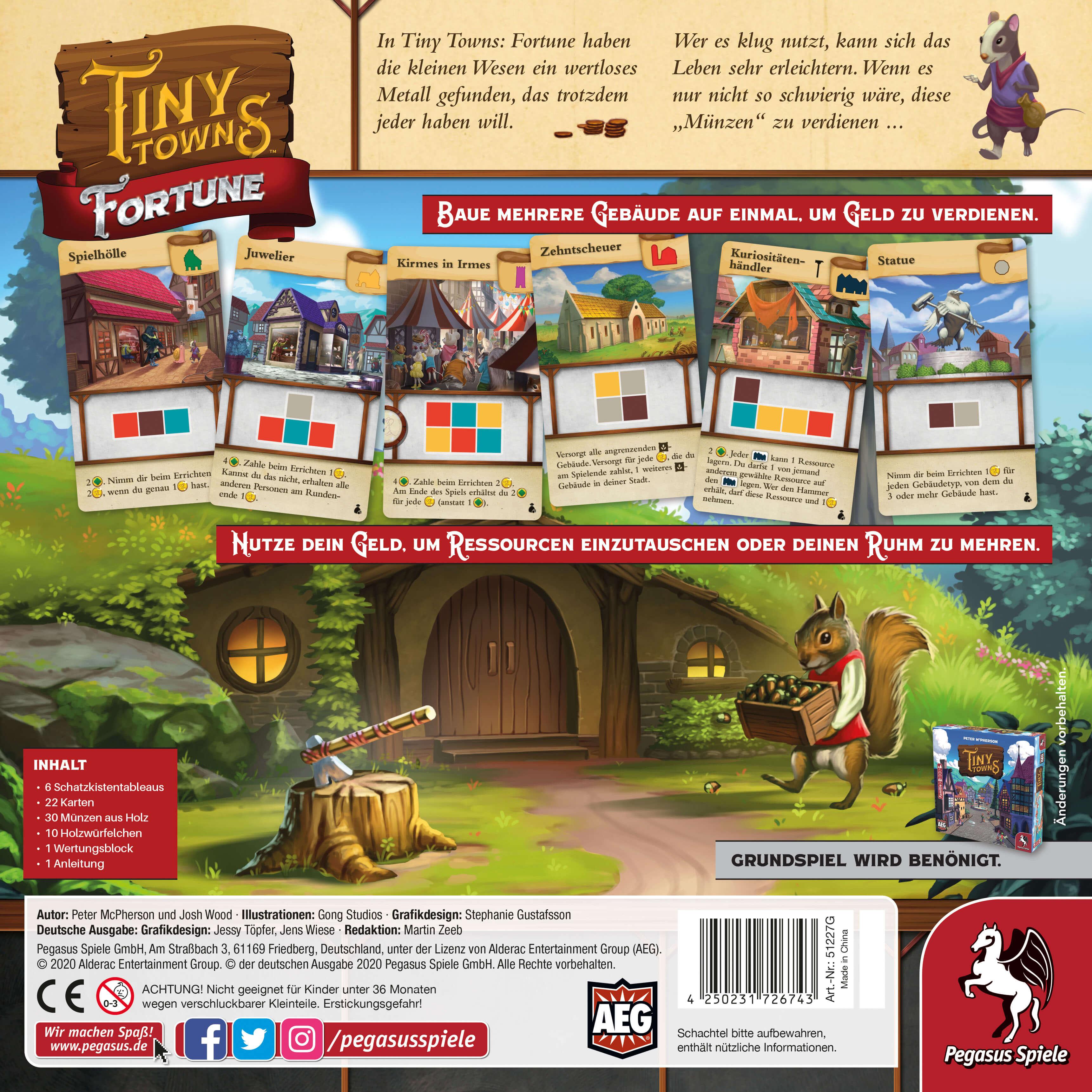 Schachtel Rückseite- Tiny Towns: Fortune