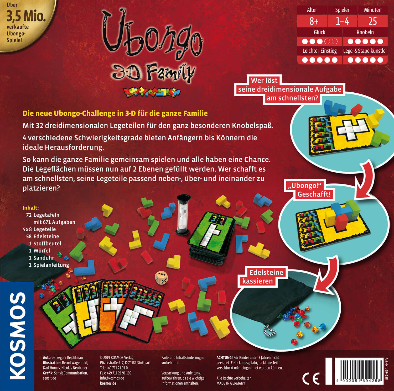 Schachtel Rückseite- Ubongo - 3-D Family