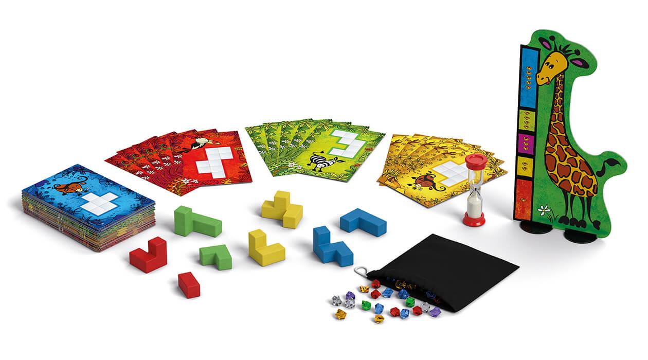 Spielmaterial - Karten, Blöcke und Giraffe- Ubongo - Junior 3-D