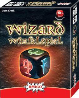 Schachtel Vorderseite, rechte Seite- Wizard Würfelspiel