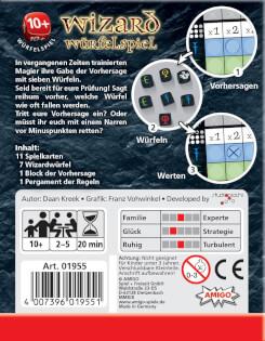 Schachtel Rückseite- Wizard Würfelspiel
