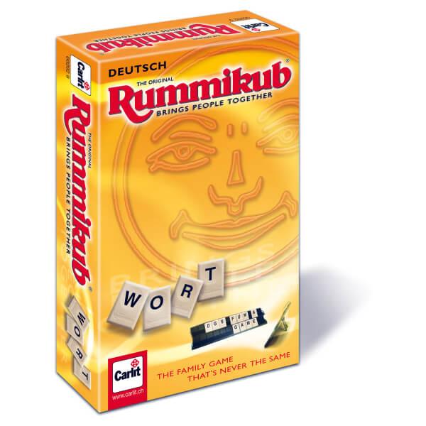 Schachtel Vorderseite, linke Seite- Wort Rummikub