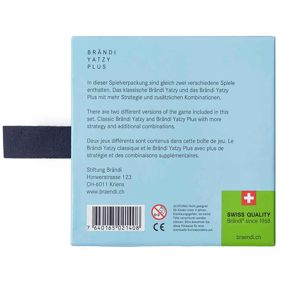 Schachtel Rückseite- Brändi Yatzy Plus
